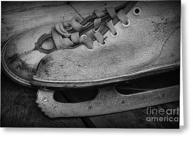 Antique Skates Photographs Greeting Cards - Vintage Ice Skates in black and white Greeting Card by Paul Ward