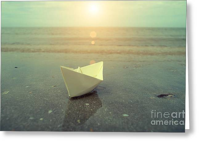 Toy Boat Greeting Cards - Vintage image of paper boats on beach. Greeting Card by Noppharat Manakul