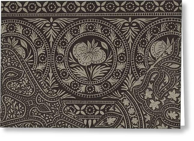 Vintage Indian Textile Design Greeting Card by German School