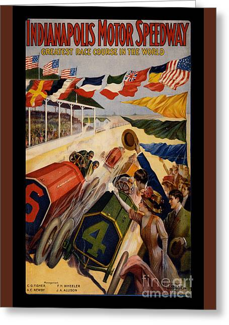 1900s Greeting Cards - Vintage Indianapolis Motor Speedway Poster Greeting Card by Edward Fielding