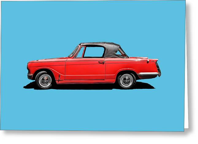 Blue Classic Car Greeting Cards - Vintage Italian Automobile Red Tee Greeting Card by Edward Fielding