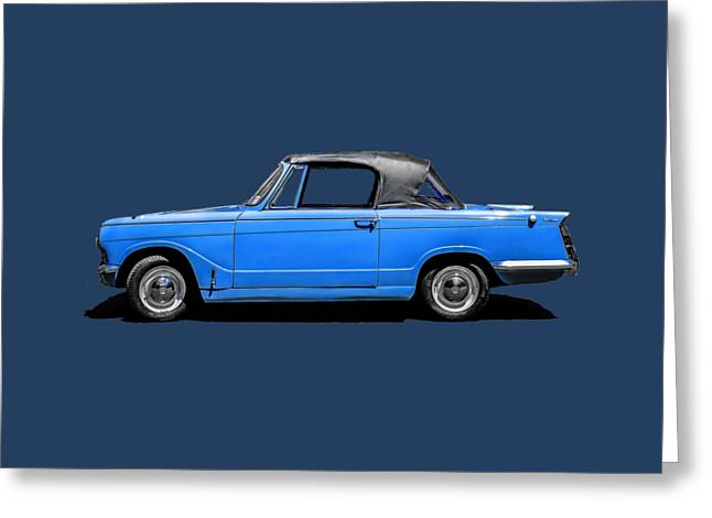 Blue Classic Car Greeting Cards - Vintage Italian Automobile Tee Greeting Card by Edward Fielding