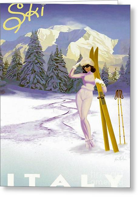 Vintage Italian Ski Poster Greeting Card by Tina Lavoie