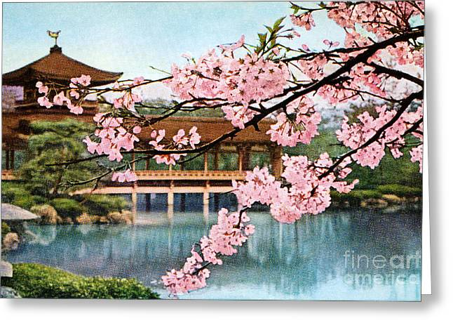 Cherry Blossoms Paintings Greeting Cards - Vintage Japanese Art 12 Greeting Card by Hawaiian Legacy Archive - Printscapes