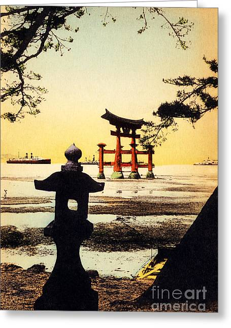 Locations Paintings Greeting Cards - Vintage Japanese Art 23 Greeting Card by Hawaiian Legacy Archive - Printscapes