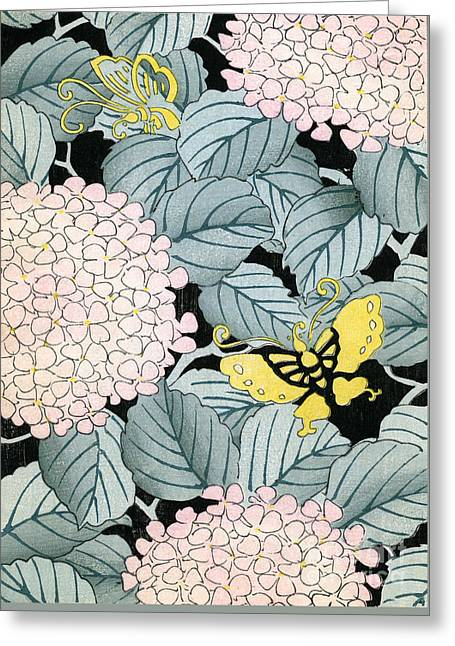 Vintage Japanese Illustration Of A Hydrangea Blossoms And Butterflies Greeting Card by Japanese School