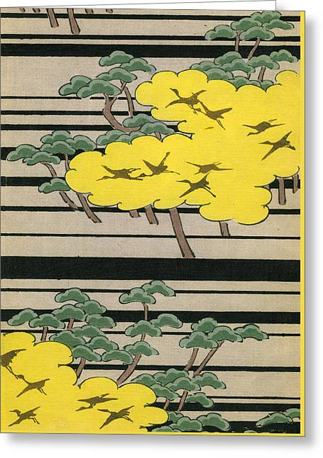 Vintage Japanese Illustration Of An Abstract Forest Landscape With Flying Cranes Greeting Card by Japanese School