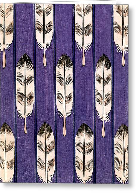 Vintage Japanese Illustration Of Feathers On A Lavender Background Greeting Card by Japanese School