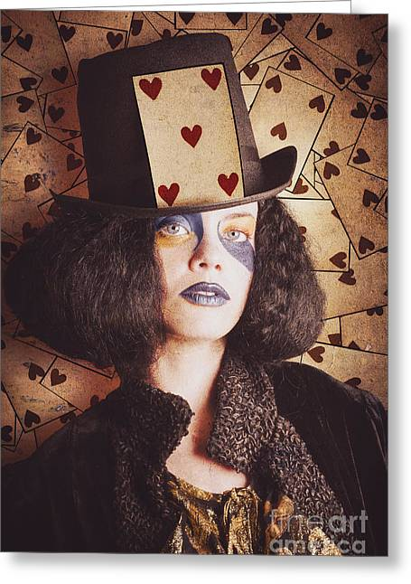Cardboard Greeting Cards - Vintage jester woman wearing the card of hearts Greeting Card by Ryan Jorgensen