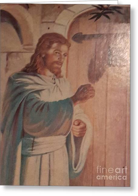 Entrance Door Greeting Cards - Vintage Jesus Greeting Card by Cindy  Riley