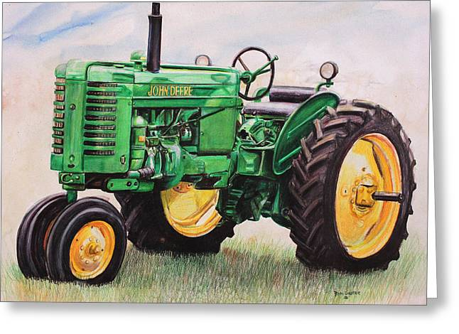 Johns Greeting Cards - Vintage John Deere Tractor Greeting Card by Toni Grote