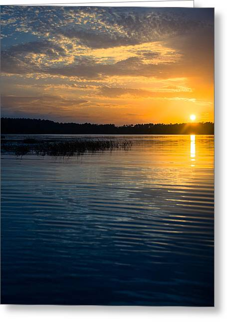 Reflection In Water Greeting Cards - Vintage Lake Sunset Greeting Card by Parker Cunningham