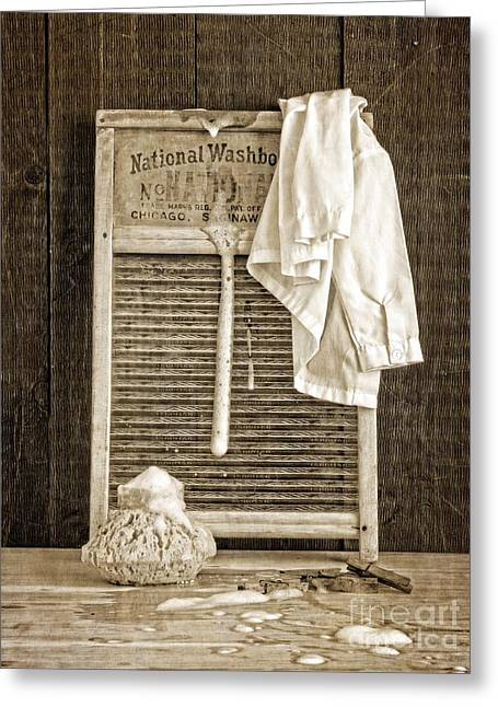 Vintage Laundry Room Greeting Card by Edward Fielding