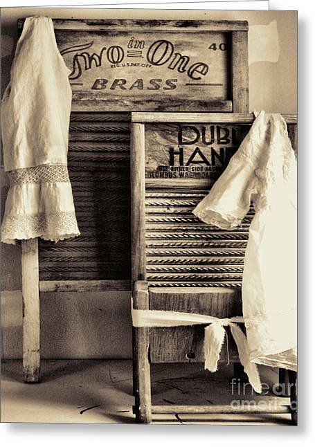 Doing Laundry Greeting Cards - Vintage Laundry Room Greeting Card by Mindy Sommers