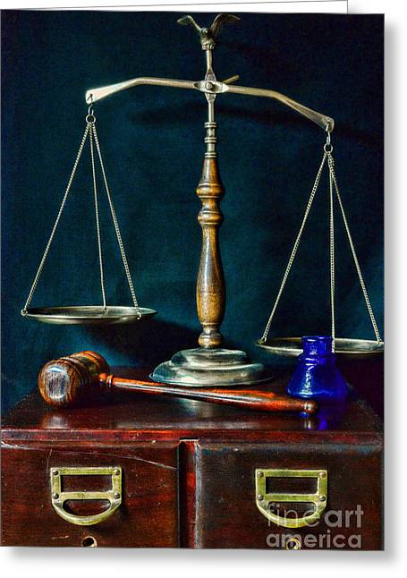 Vintage Lawyer Scales Of Justice Greeting Card by Paul Ward