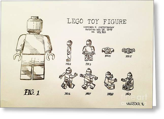 Vintage Lego Toy Figure Patent - Graphite Pencil Sketch Greeting Card by Scott D Van Osdol