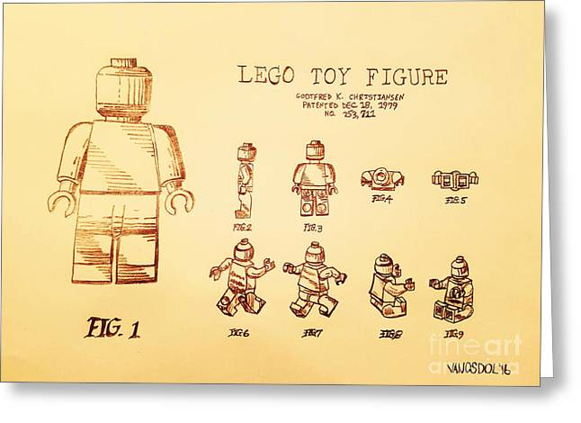 Vintage Lego Toy Figure Patent - Peach Background Greeting Card by Scott D Van Osdol
