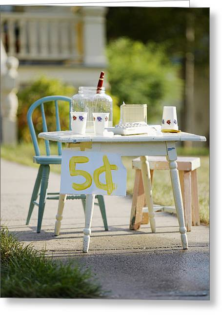 Chairs Greeting Cards - Vintage Lemonade Stand 5 Lettering Greeting Card by Gillham Studios