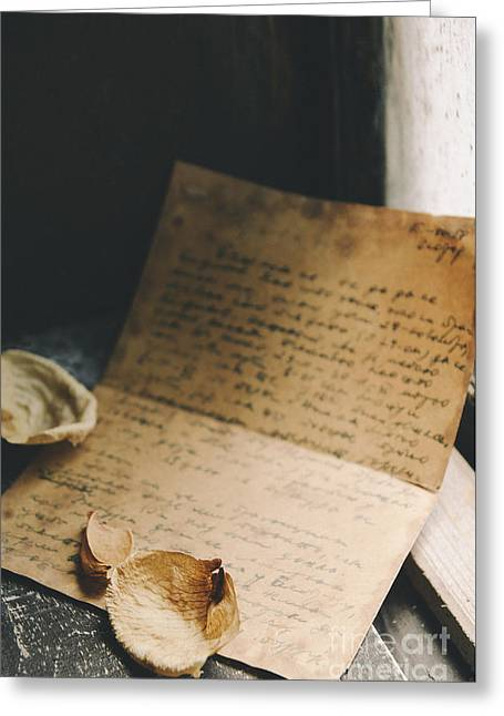 Secrets Pyrography Greeting Cards - Vintage Letters Greeting Card by Jelena Jovanovic