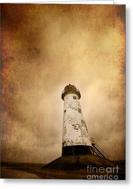 Flash Greeting Cards - Vintage Lighthouse Greeting Card by Meirion Matthias