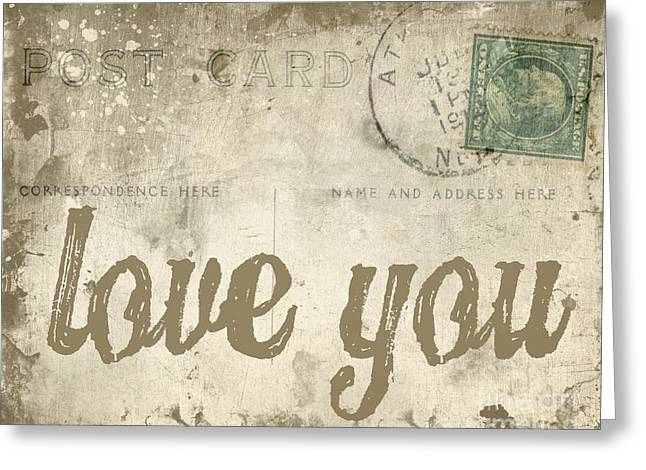 Vintage Love Letters Greeting Card by Edward Fielding