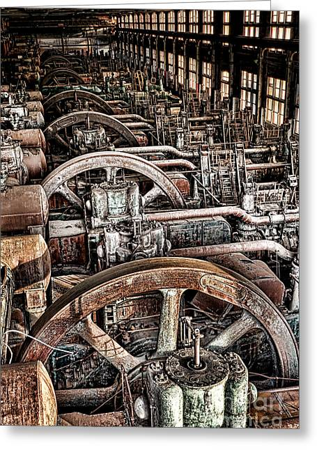 Vintage Machinery Greeting Card by Olivier Le Queinec