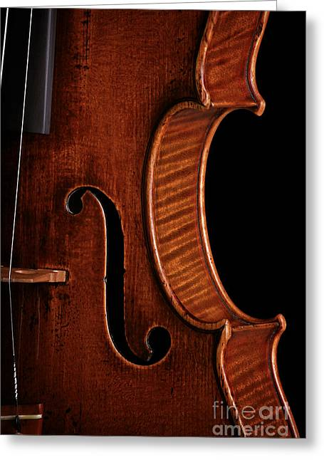 Overture Greeting Cards - Vintage Mahogany Violin Detail Greeting Card by John Stephens