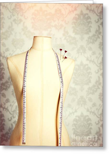 Vintage Mannequin With Tape Measure Greeting Card by Amanda Elwell