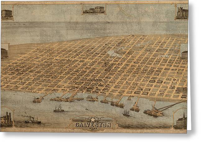 Vintage Map Of Galveston Texas 1871 Birds Eye Street View  Greeting Card by Design Turnpike