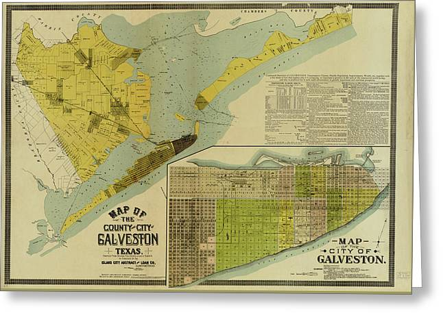 Vintage Map Of Galveston Texas - 1891 Greeting Card by CartographyAssociates