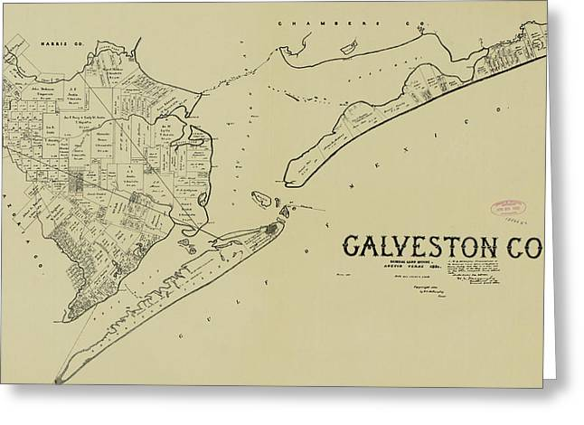Vintage Map Of Galveston Texas - 1892 Greeting Card by CartographyAssociates