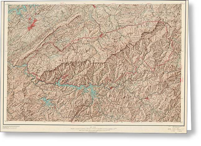Vintage Map Of Great Smoky Mountains National Park - Usgs Topographic Map - 1949 Greeting Card by Blue Monocle