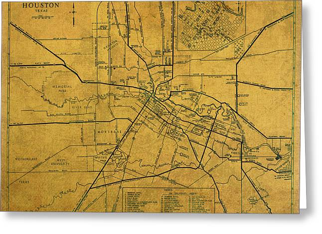 Vintage Map Mixed Media Greeting Cards - Vintage Map of Houston Texas City Schematic on Worn Old Parchment  Greeting Card by Design Turnpike