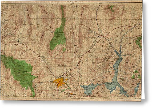 View Mixed Media Greeting Cards - Vintage Map of Las Vegas Nevada 1969 Aerial View Topography on Distressed Worn Canvas Greeting Card by Design Turnpike