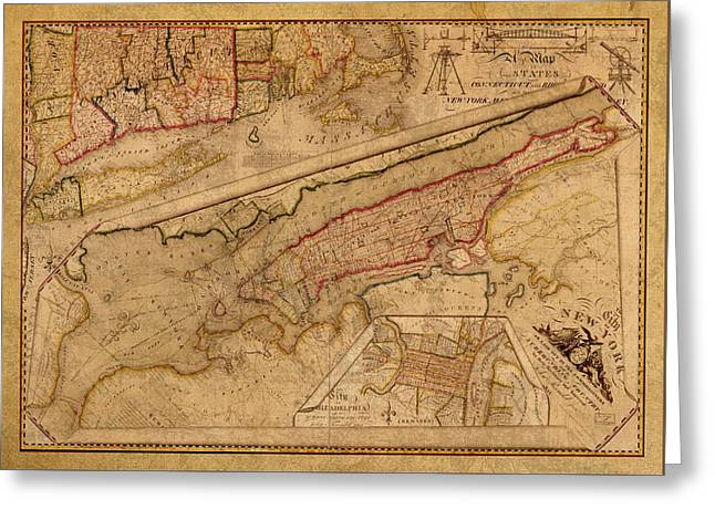 Vintage Map Of Manhattan Island 1821 Antique On Worn Canvas  Greeting Card by Design Turnpike