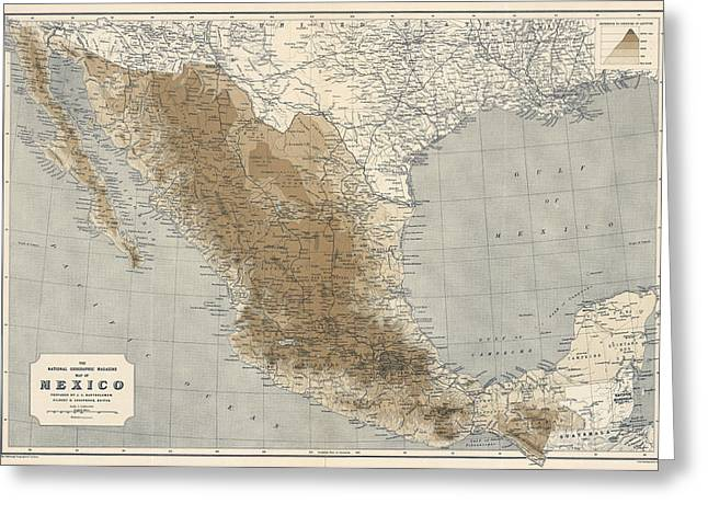 National Drawings Greeting Cards - Vintage Map of Mexico - 1911 - National Geographic Greeting Card by Blue Monocle