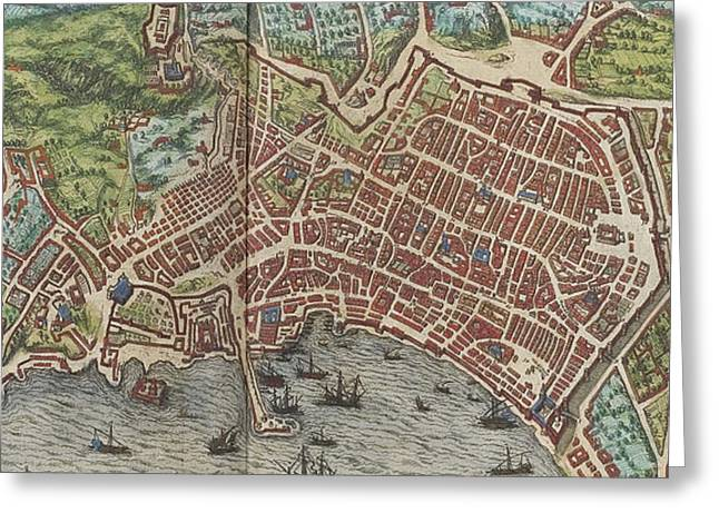 Vintage Map Of Naples Italy - 1572 Greeting Card by CartographyAssociates