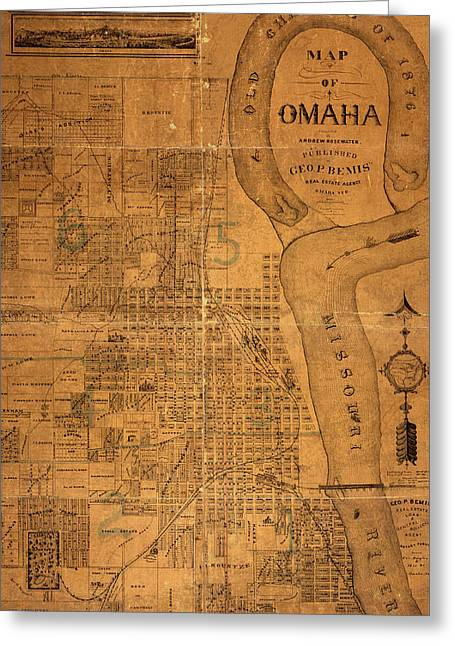 Omaha Greeting Cards - Vintage Map of Omaha Nebraska 1878 Greeting Card by Design Turnpike