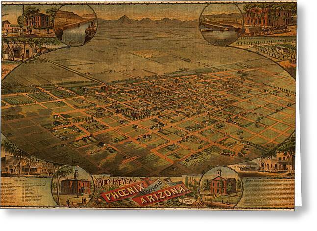 View Mixed Media Greeting Cards - Vintage Map of Phoenix Arizona Aerial View Topographical Illustration Artwork on Distressed Canvas Greeting Card by Design Turnpike