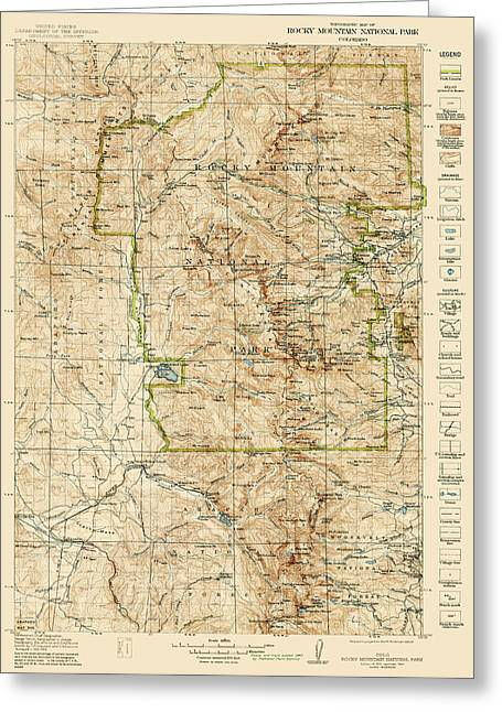Vintage Map Of Rocky Mountain National Park - Colorado - 1919/1940 Greeting Card by Blue Monocle