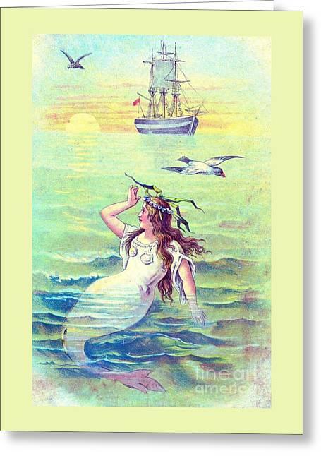 Yellow Sailboats Drawings Greeting Cards - Vintage Mermaid and Sailing Ship Greeting Card by Anne Kitzman