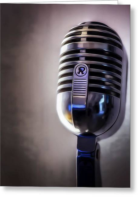 Live Music Digital Art Greeting Cards - Vintage Microphone 2 Painted Greeting Card by Scott Norris