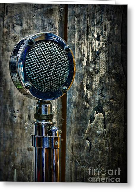 Announcer Greeting Cards - Vintage Microphone Greeting Card by Paul Ward