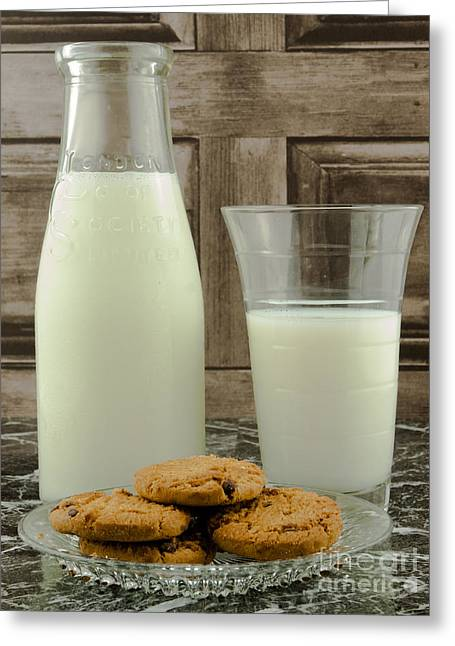 Bottle Of Milk Greeting Cards - Vintage Milk Bottle And Cookies Greeting Card by F Helm