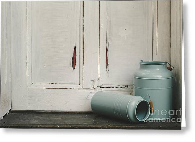 Old Doors Greeting Cards - Vintage milk canisters. Greeting Card by Jelena Jovanovic