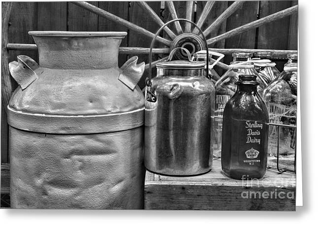 Food Delivery Greeting Cards - Vintage Milk in black and white Greeting Card by Paul Ward