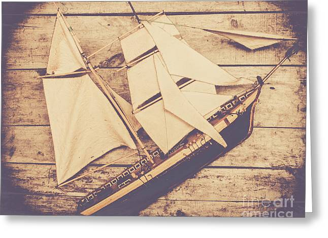 Vintage Mini Ship On Wooden Background Greeting Card by Jorgo Photography - Wall Art Gallery