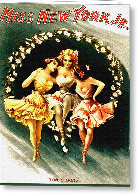 Night Cafe Drawings Greeting Cards - Vintage Miss New York Jr. - Vintage Burlesque Greeting Card by Just Eclectic