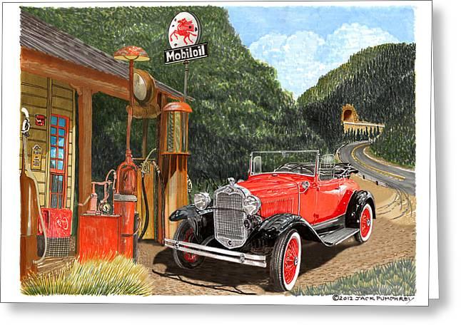 Vintage Mobilgas Station  Greeting Card by Jack Pumphrey