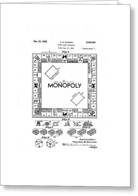 Vintage Monopoly Patent 1935 Greeting Card by Bill Cannon